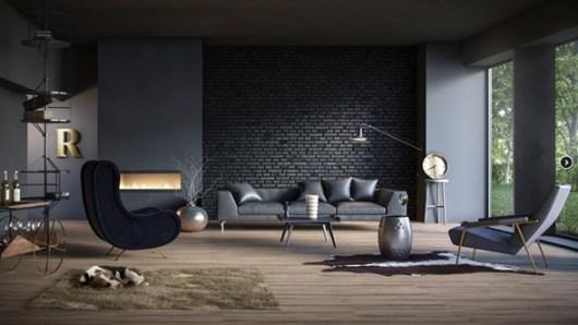 decoración sala negro
