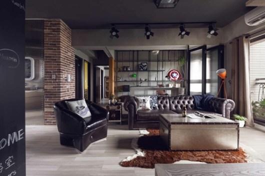 industrial apartment design 90 m2