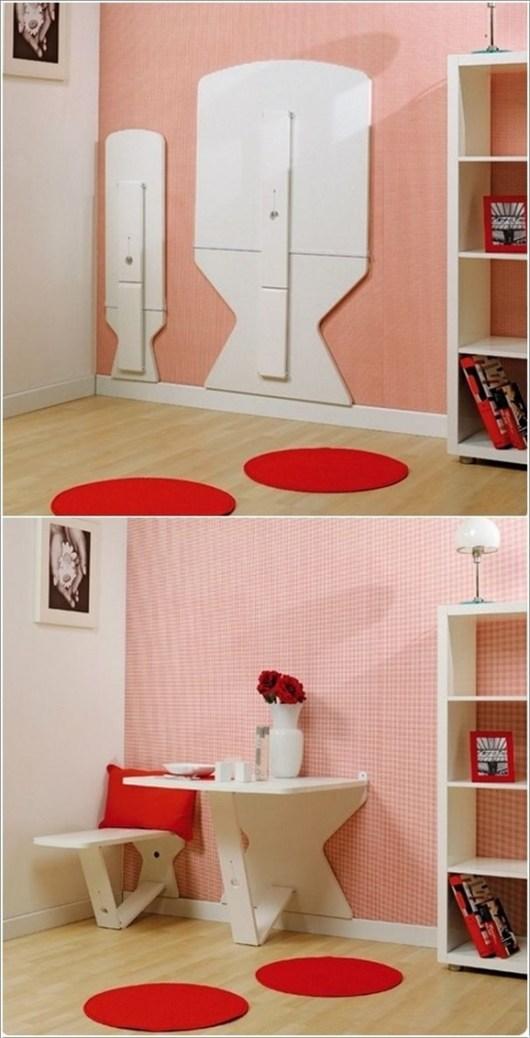 mesa y asiento plegable pared