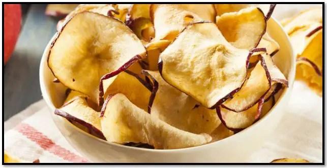 chips de manzana en microondas