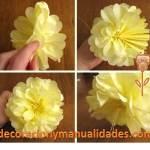 Decoración de mesa con flores de papel