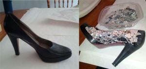 Zapatos decorados con trozos de vidrio1