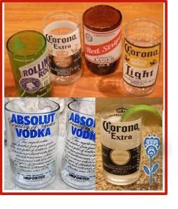 vasos de vidrio cortado reciclado