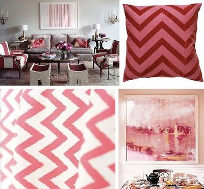 Idea para combinar colores: rosa viejo, blanco y gris.
