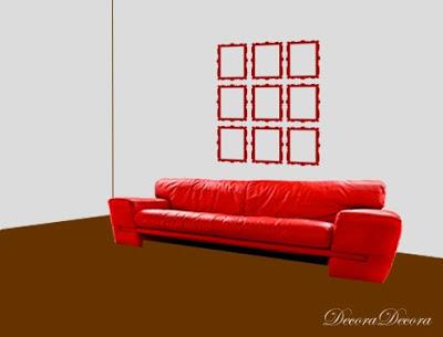 como colgar cuadros composiciones sobre un sofa