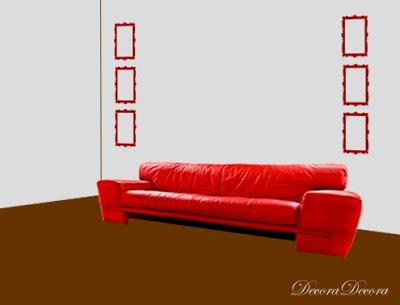 como cologar los cuadros encima de un sofa