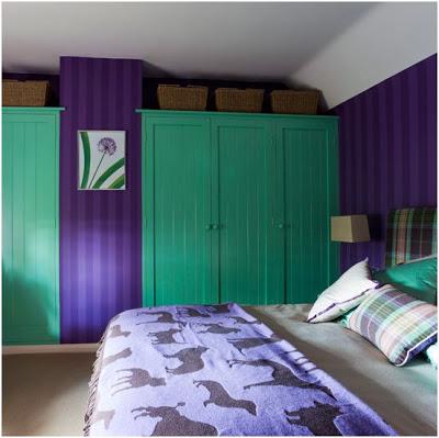 ideas para combinar colores en decoracion lila y verde