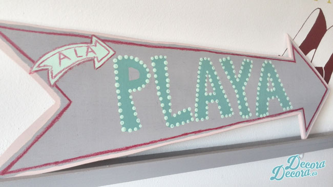 "Cartel ""a la playa"" DIY."