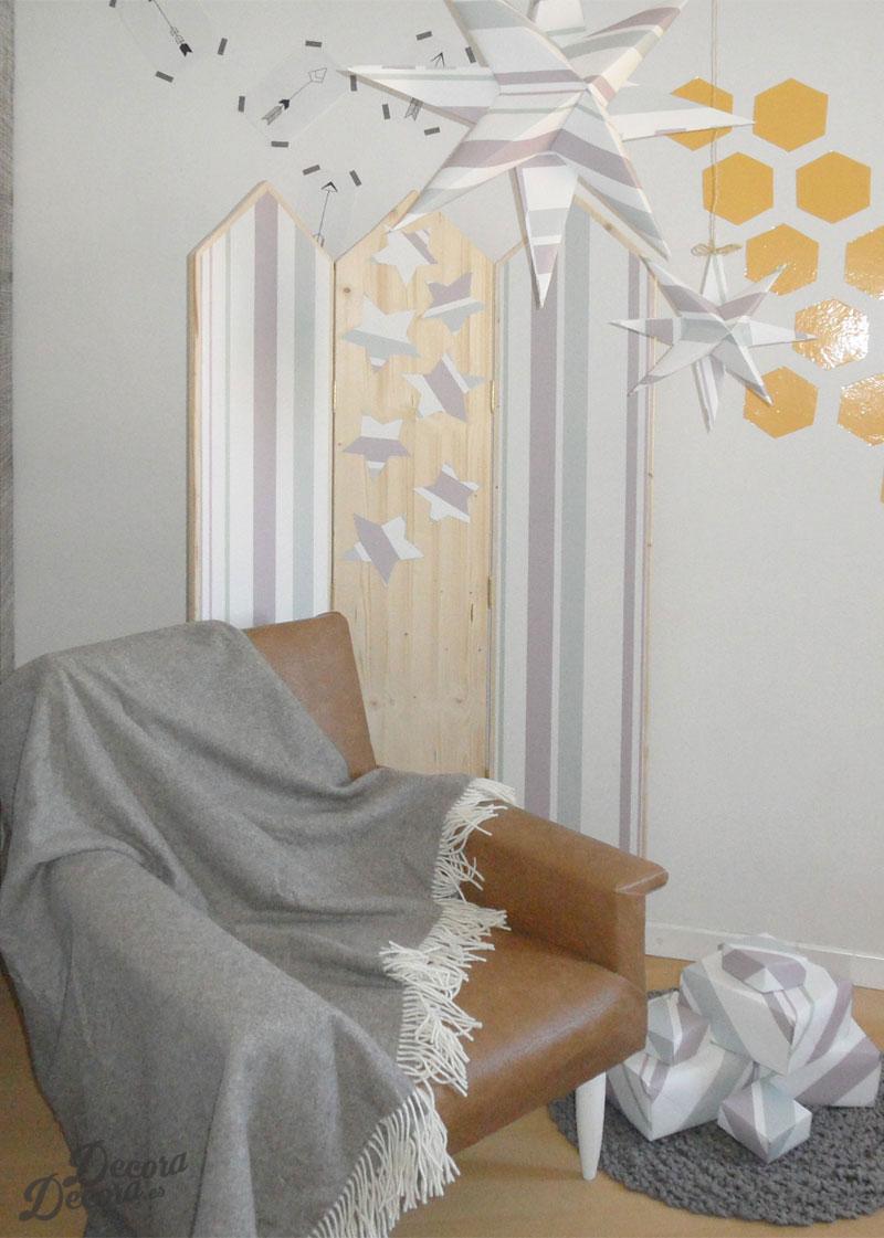 Decorar con papel de pared hacer un biombo - Decorar paredes con papel ...