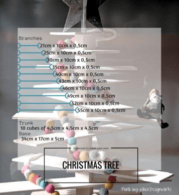 DIY wooden Christmas Tree measures by WhenDesignWorks