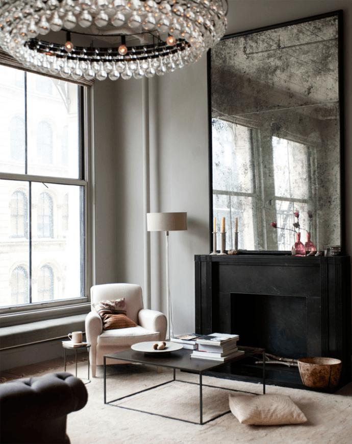 Loft en NY: salón con lámpara de Ochre