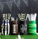 14. Football Party Mason Jars