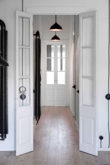 Old black radiators, industrial style look as if they were sculptures