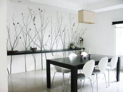 Vinilo de árboles en comedor