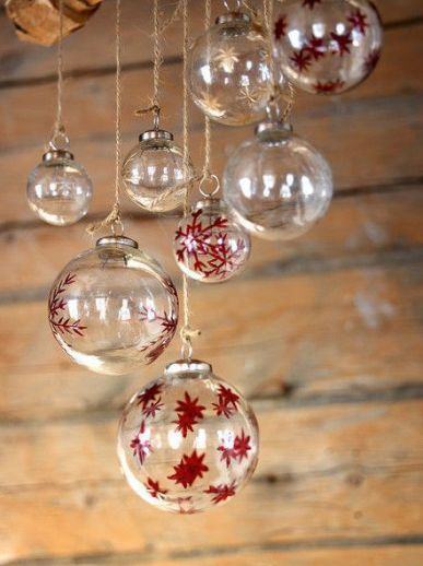 Christmas tree balls painted in red and gold