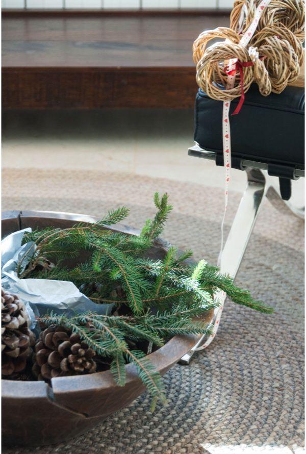 Ramas y piñas para un bodegón navideño