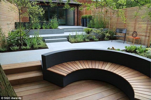 jardin con desniveles y parterres