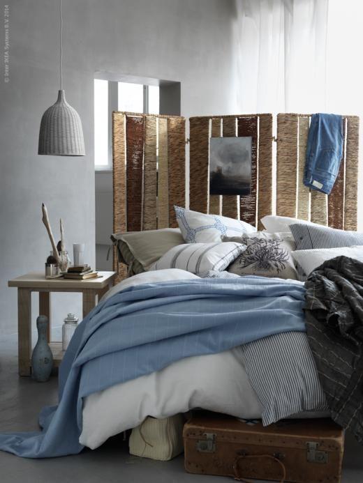 biombo como cabecero del dormitorio