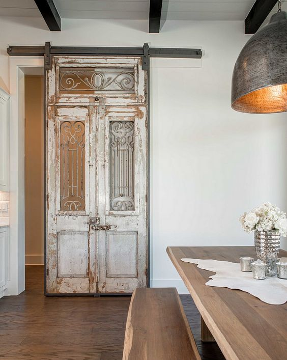 Sliding antique door