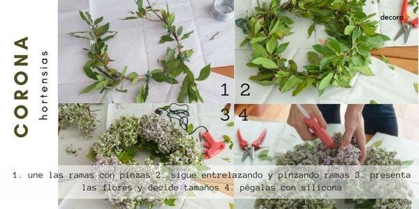 instrucciones para hacer una corona de laurel y hortensias