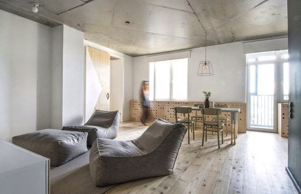 Piso de alquiler - concrete on the ceilings