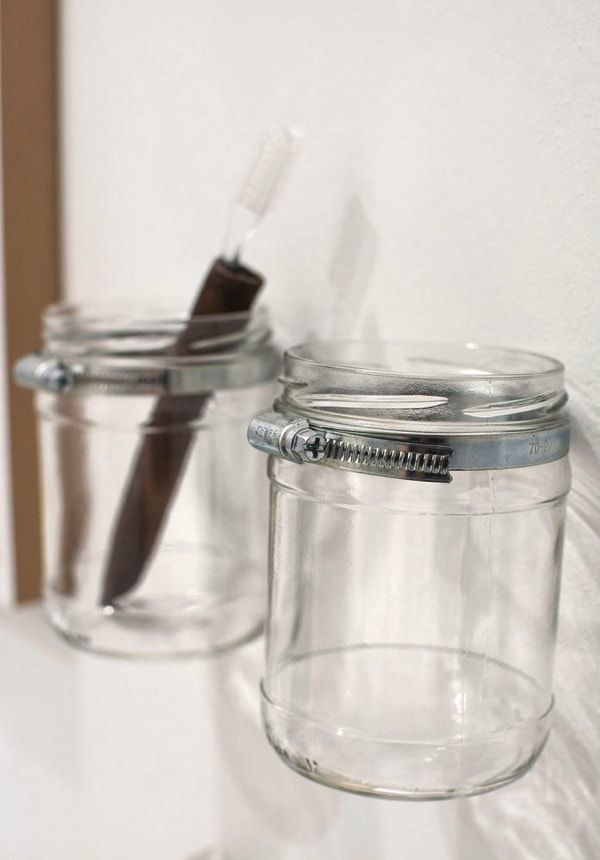 diy - recycled jars to store in the bathroom