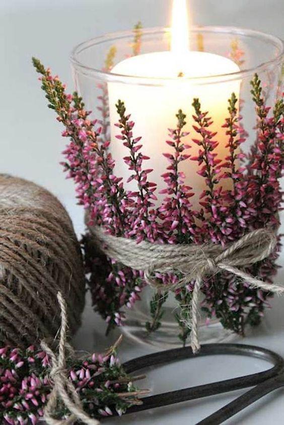 plantas de navidad - brezo en portavelas