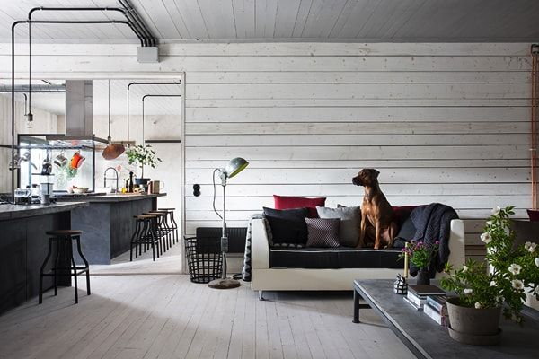 casa industrial y minimalista - salon