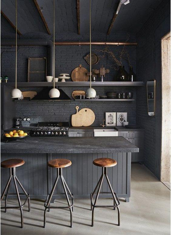 decoralinks   cocinas negras estilo industrial