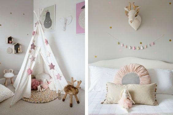 decoralinks | tepi con guirnalda estrellas rosas y taburetes Taskeshi