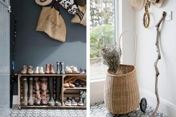 decoralinks | hall con cajas para dejar zapatos y cesto con ruedas