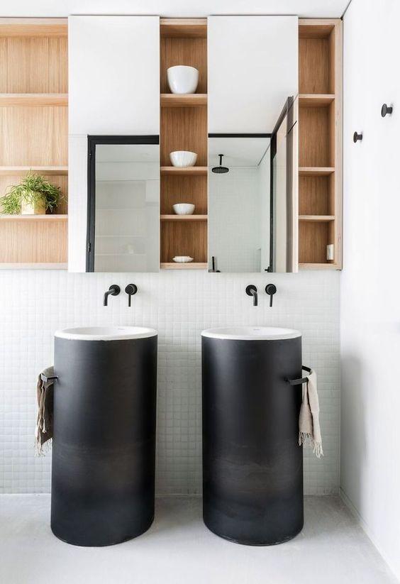 decoralinks | armario con espejo y lavabos altos con base metalica - bathroom