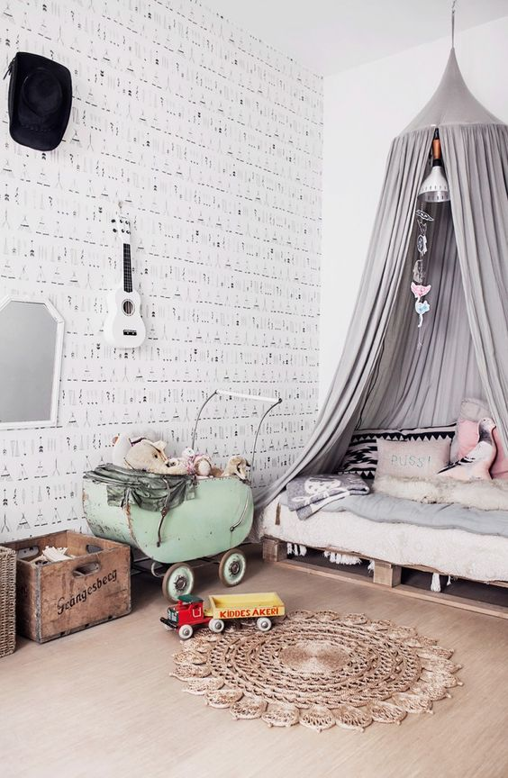 decoralinks | Black and white kids wallpaper with tipis in a vintage room