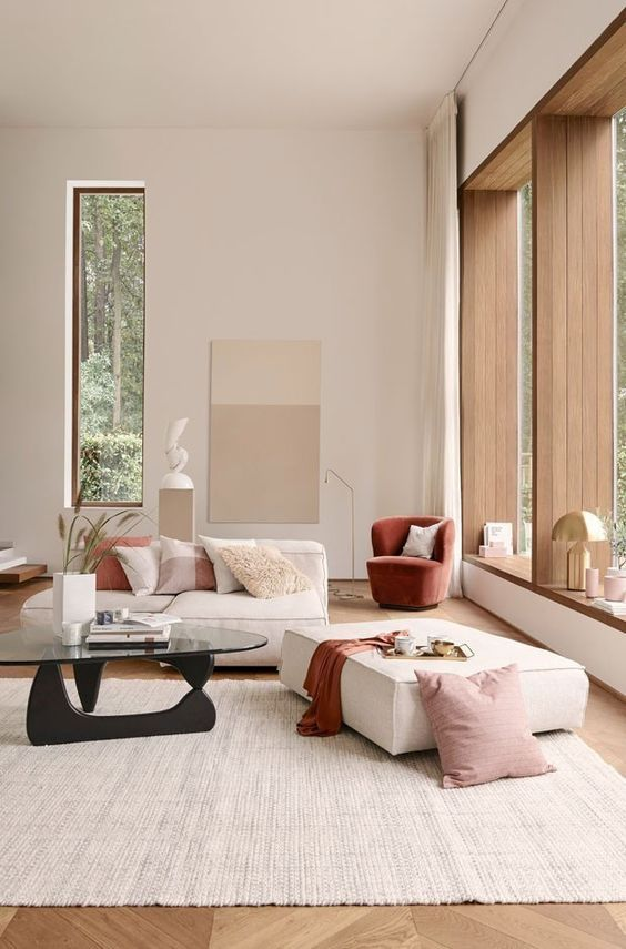 decoralinks | living room painted in neutral tones with high ceilings