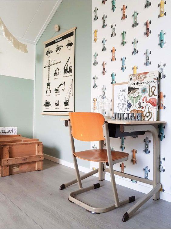 decoralinks | Playful 3D effect wallpaper designed by SudioDitte for a vintage study room