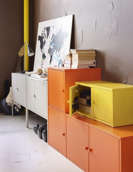 decoralinks | yellow, orange and white lockers from Ikea