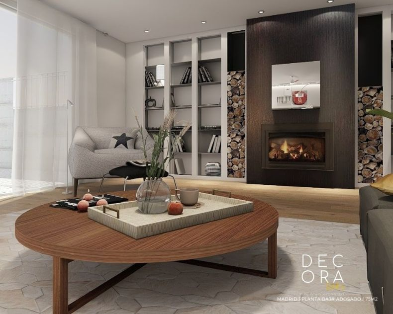 decoralinks | reforma de adosado en Madrid - salon con chimenea