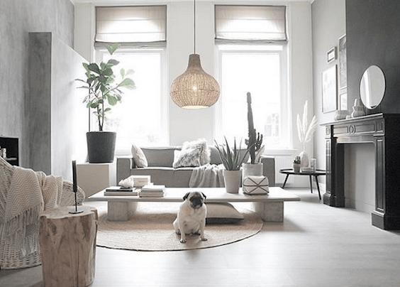 decoralinks | salon con lampara de mimbre