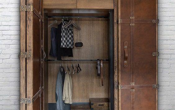 decoralinks | apartamento loft industrial - armario a medida con look de maleta antigua