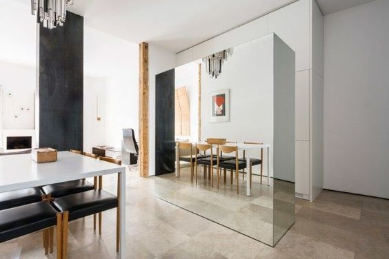 decoralinks | mueble de cocina separador con comedor forrado de espejo