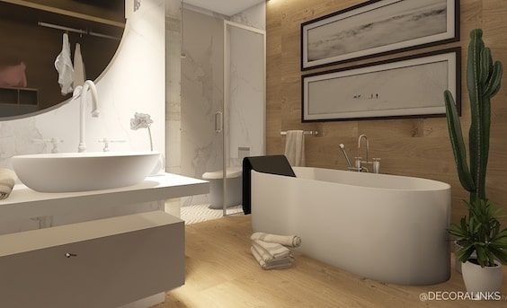 decoralinks | bathroom design using marble and wood - by Decoralinks Studio