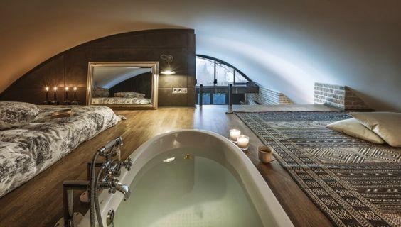 decoralinks   apartamento loft industrial - altillo con bañera