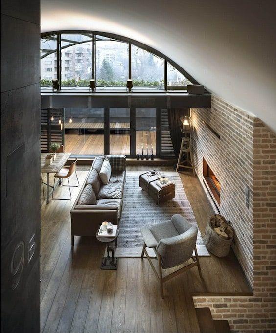 decoralinks   apartamento loft industrial -vista del salon