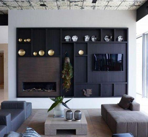 decoralinks | panel decorativo como soporte al televisor y la chimenea, en tono oscuro