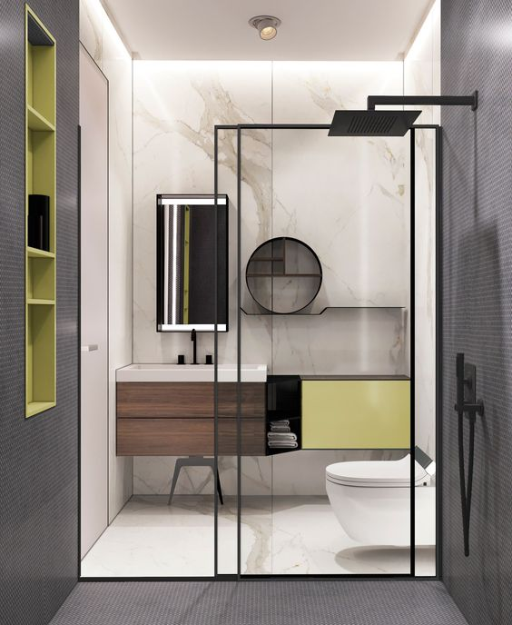 decoralinks | mamparas de ducha con  perfileria negra y revestimientos de marmol