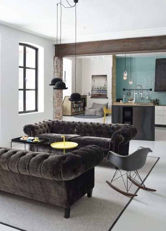 decoralinks | sofas chester de terciopelo negro