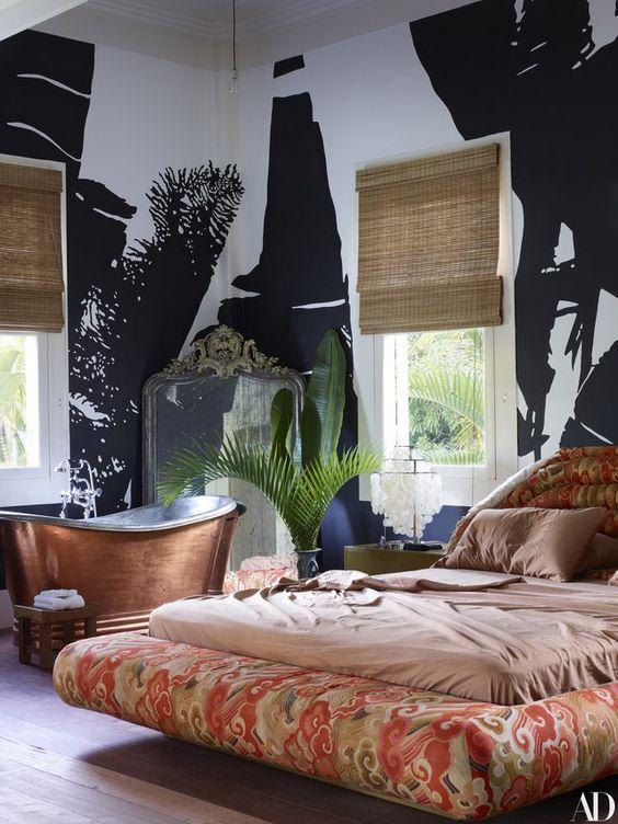 decoralinks | casa de Lenny Kravitz en Brasil - dormitorio con mural de palmeras
