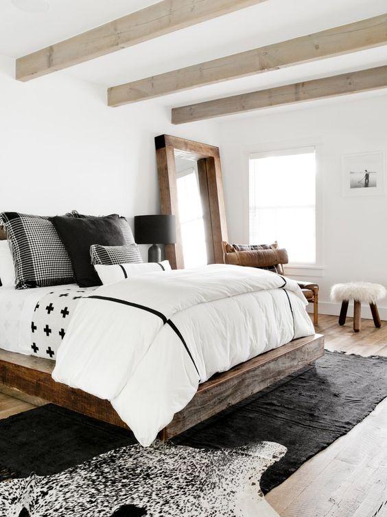 decoralinks | dormitorio con vigas en color natural
