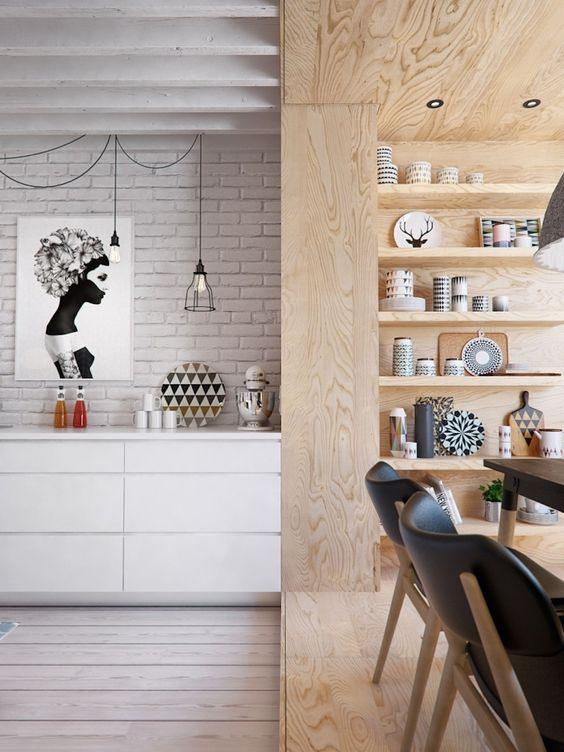 decoralinks | #cocina #comedor #maderacontrachapada #ladrilloblanco