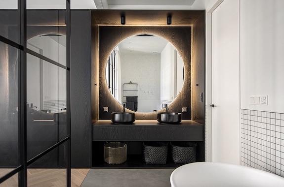 decoralinks | casa una distribucion perfecta #bathroom #allblack #doblelavabo #openconcept